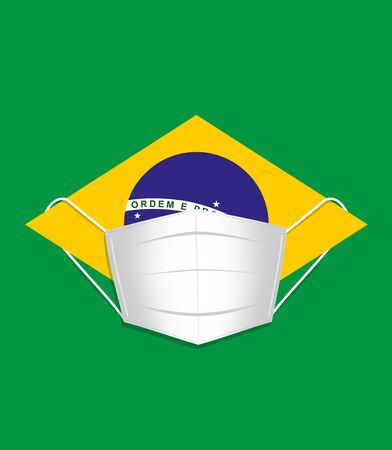 Brazilian flag wearing a surgical face mask. 版權商用圖片 - 148337116