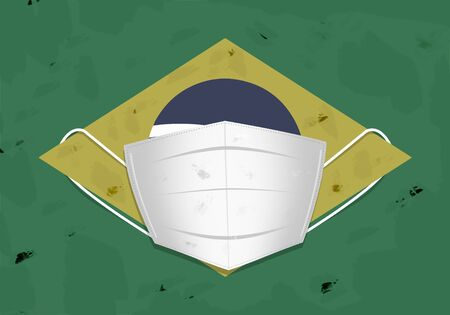 Brazilian flag wearing a surgical face mask.