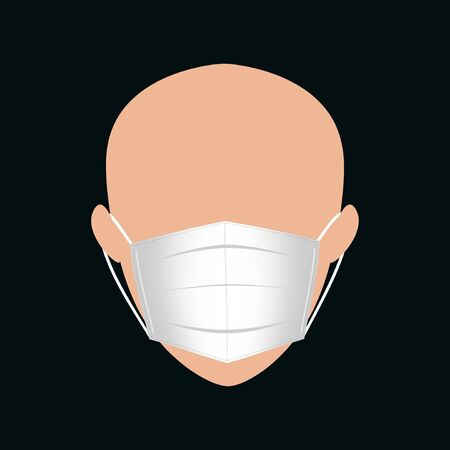 A human head wearing a surgical face mask to prevent air diseases. 版權商用圖片