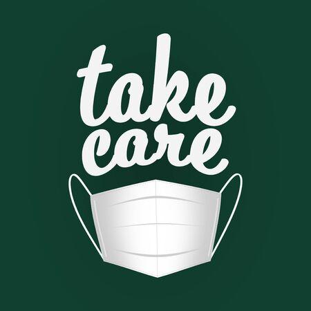 Coronavirus mask and a take care message. 版權商用圖片