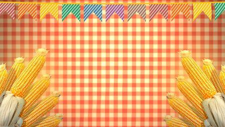 Festa Junina background, Brazilian Saint John party. Decoration with corn cobs and colored flags. 版權商用圖片 - 147203245