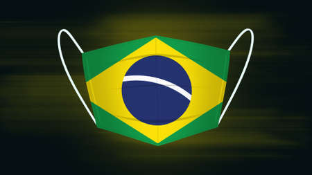 Face mask with the flag of Brazil. Brazil theme mask. Concept of a country during the coronavirus pandemic.