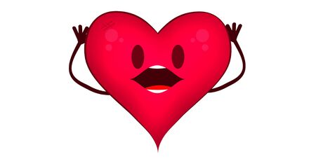 Illustrated heart with an expression of surprise, or despair. Character of a heart with open mouth, open eyes and hands to the head. Health concept.