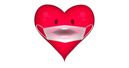 Character of a heart wearing face mask. Illustrated character. Concept of health during a flu pandemic.