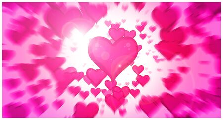 Explosion of hearts moving straight to the screen. Concept of lovers day, marriage, mothers and fathers day or valentines.
