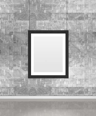 Art museum wall with a single vertical frame. Vertical image. Industrial style modern museum.