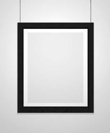 Art museum single vertical frame isolated on white. Black frame.