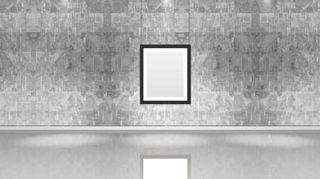 Art museum wall with a single vertical frame. Horizontal image. Industrial style modern museum. 版權商用圖片
