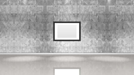 Art museum wall with a single horizontal frame. Horizontal image. Industrial style modern museum. 3D rendering.