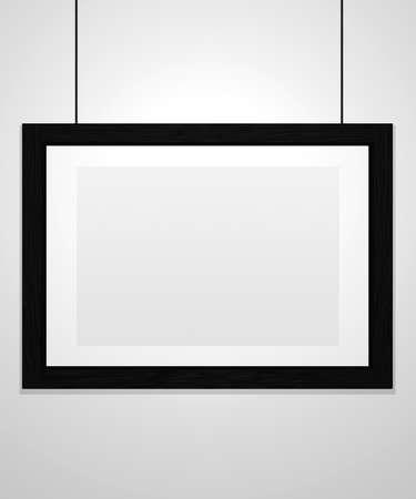 Art museum single horizontal frame isolated on white. Black frame. 3D rendering.