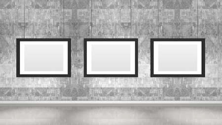 Art museum wall with three horizontal frames. Industrial style modern museum. 3D rendering.