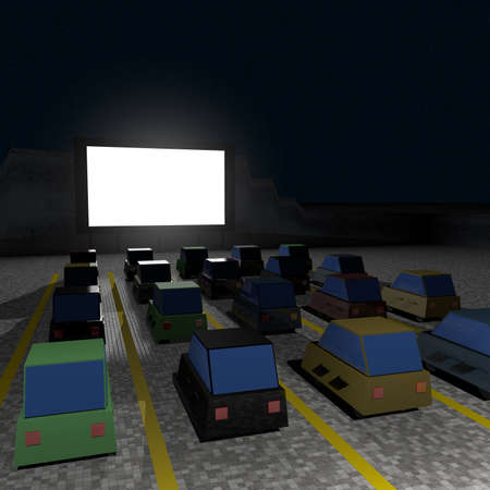 Parked cars at square to watch movies inside the car at night. Cine park car drive-in at parking lot to watch movies, open air cinema. Simple design. Left side perspective view, 3D rendering. 版權商用圖片