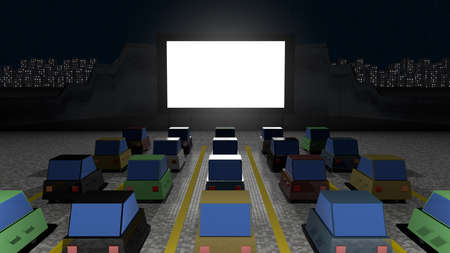 Parked cars at square to watch movies inside the car at night. Cine park car drive-in at parking lot to watch movies, open air cinema. Simple design. Front view, 3D rendering. 版權商用圖片