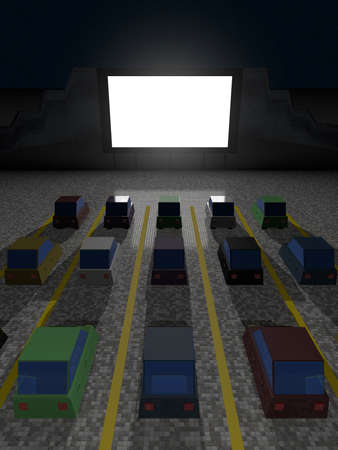 Parked cars at square to watch movies inside the car at night. Cine park car drive-in at parking lot to watch movies, open air cinema. Simple design. Top view, 3D rendering. 版權商用圖片