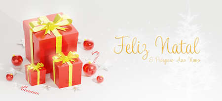 Merry Christmas and Happy New Year wishes. 3D rendering Xmas banner. Gift boxes, christmas ball, stick and stars decoration on a white background. Horizontal poster, text in Brazilian Portuguese. 版權商用圖片