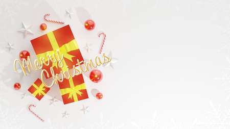 Merry Christmas wishes with blank space for text, Xmas banner, top view on white background. Gift boxes, christmas ball, stick and stars decoration. Horizontal poster, text in English. 版權商用圖片 - 156398069