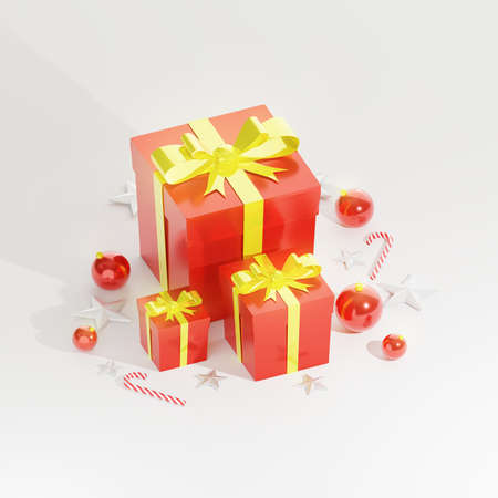 Christmas presents on white background, red gift boxes with glossy golden ribbon, red balls, christmas cane and stars decoration. 3D rendering.