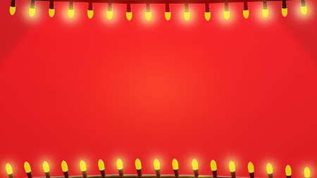 Christmas lights background. String lights frame with space for text, red tones, horizontal composition. 3D rendering. 版權商用圖片