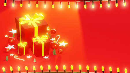 Christmas presents with string lights frame. Holidays background. Red tones, with space for text, horizontal composition. 3D rendering.