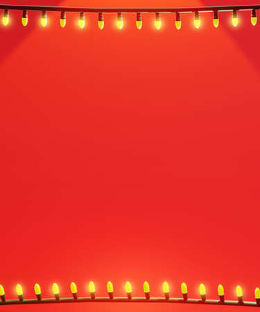 Christmas lights background. String lights frame with space for text, red tones, vertical composition. 3D rendering. 版權商用圖片 - 158430383