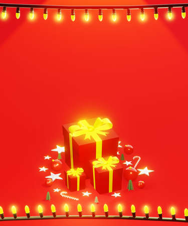Christmas presents with string lights frame. Holidays background. Red tones, with space for text, vertical composition. 3D rendering.