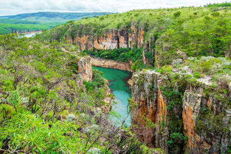 Panoramic view of the Canyons de Furnas at Capitólio MG Brazil. Beautiful landscape of eco tourism of Minas Gerais state.
