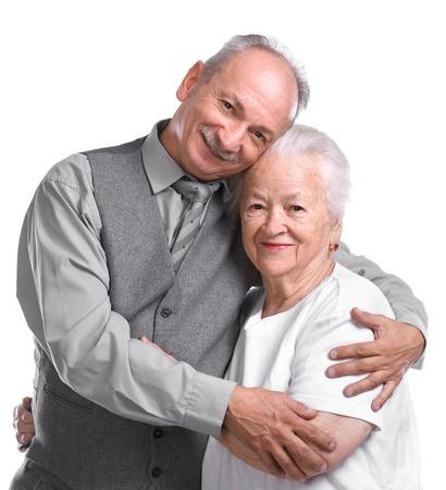 Senior man with old woman on white background Stock Photo - 17017344