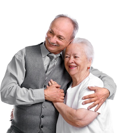 Senior man with old woman on white background Stock Photo - 17017343