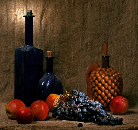 still life with old vases,  apples and grape photo