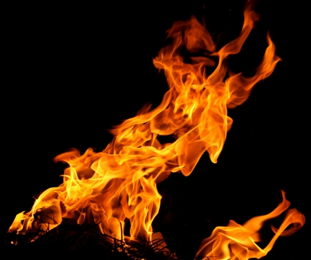 Fire flames isolated on a black background Stock Photo - 17107813