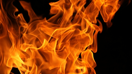 Fire flames isolated on a black background Stock Photo - 17107862