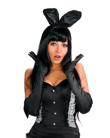 Sexy playgirl in bunny costume over white background Stock Photo - 17384741