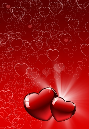 corazon: Valentine Hearts Abstract Red Background