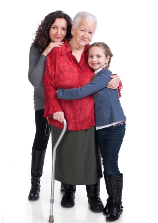 Three generations of women on a white background