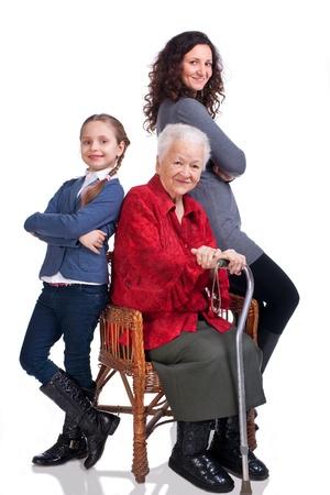 three generations of women: Three women generations on a white background Stock Photo