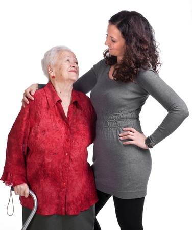 Happy grandmother with granddaughter on a white background Stock Photo - 17789220