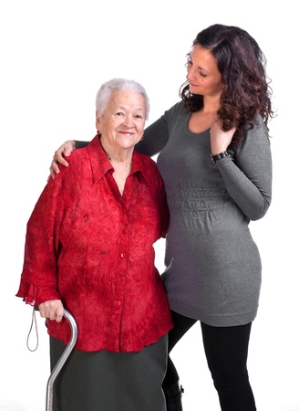 Happy grandmother with granddaughter on a white background  Stock Photo - 17789224