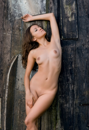 Young nude woman on a wooden  background