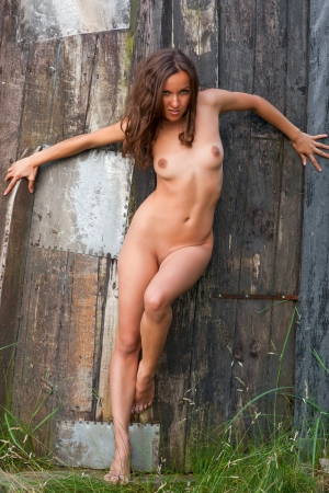 Young naked woman on a wooden  background