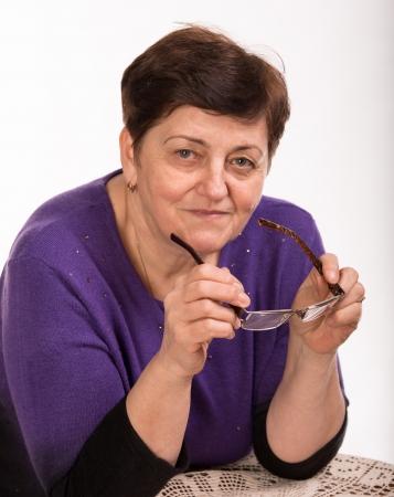 administrador de empresas: Retrato de mujer madura sobre un fondo blanco Foto de archivo