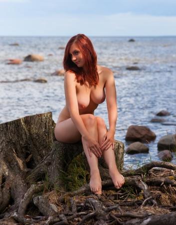 ragazza nuda: Donna nuda seduta su un ceppo di legno sulla spiaggia Archivio Fotografico