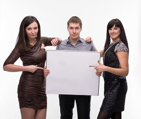 Group of people presenting blank banner over white background photo