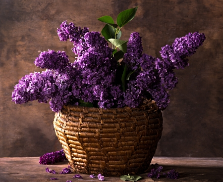 basket embroidery: Still life with a blooming branches of lilac