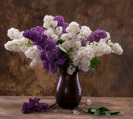 Still life with a blooming branches of lilac