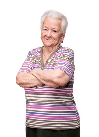 Portret van lachende vrouw op een witte achtergrond