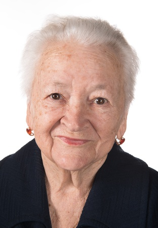Portrait of smiling old woman on a white background