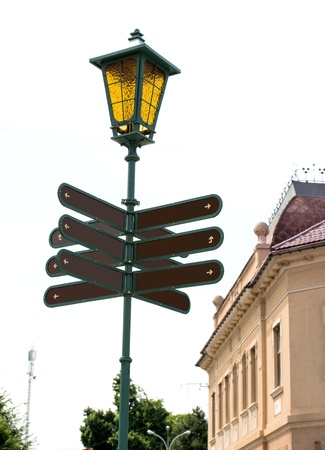 Blank directional road signs in the city photo