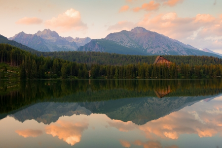 Beautiful lake Strbske pleso, High Tatras, Slovakia photo
