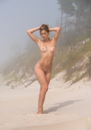 beach breast: Beautiful young naked posing on a foggy day
