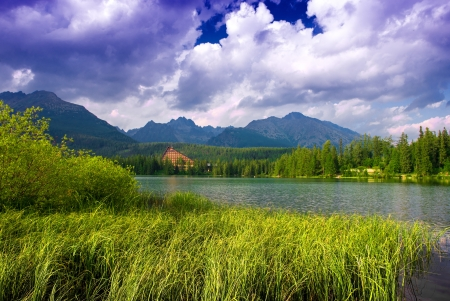 Beautiful mountain lake Strbske pleso, High Tatras, Slovakia photo